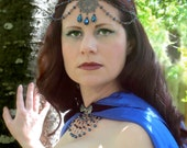 Medieval Headdress with Metallic Blue Crystals and Copper Centerpiece