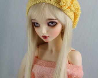 Yellow Crochet hat for MSD BJD, 1/4 Dollfie, Minifee