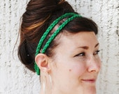 Lucky Girl HEADBAND - Kelly Green, Acrylic Yarn, One Size, Elastic, Wood Bead, Women, Girl, Trendy, Boho, Accessories, Hippie, Yarnival.