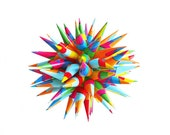 Rainbow Paper Star Urchin Ornament Colorful Decoration Modern Polish Folk Art Spiky Decorative Sphere Not Beige - Kaleidoscope, 3 inch