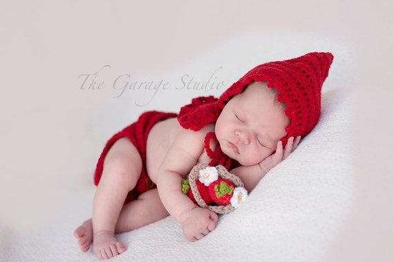 Little Red Riding Hood Photo Prop Set With Basket and  Flower Headband