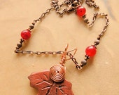 Copper Glazed Pottery Leaf Pendant Necklace, Copper Wire Wrap, Soft Glow in the Dark Finish, Handcrafted Jewelry, Red Jade and Copper