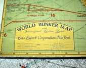 Mid 1950s Wall Size World Map - Esso World Bunker Map - Oil and Gas - On wood panel / ready to hang