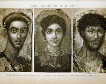 1897 Vintage Print of Alexandrian Art - German Antique Engraving of Alexandrian Art. .