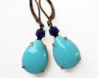 Blue Earrings Jewelry Estate Style Dangle MAYFAIR Blues