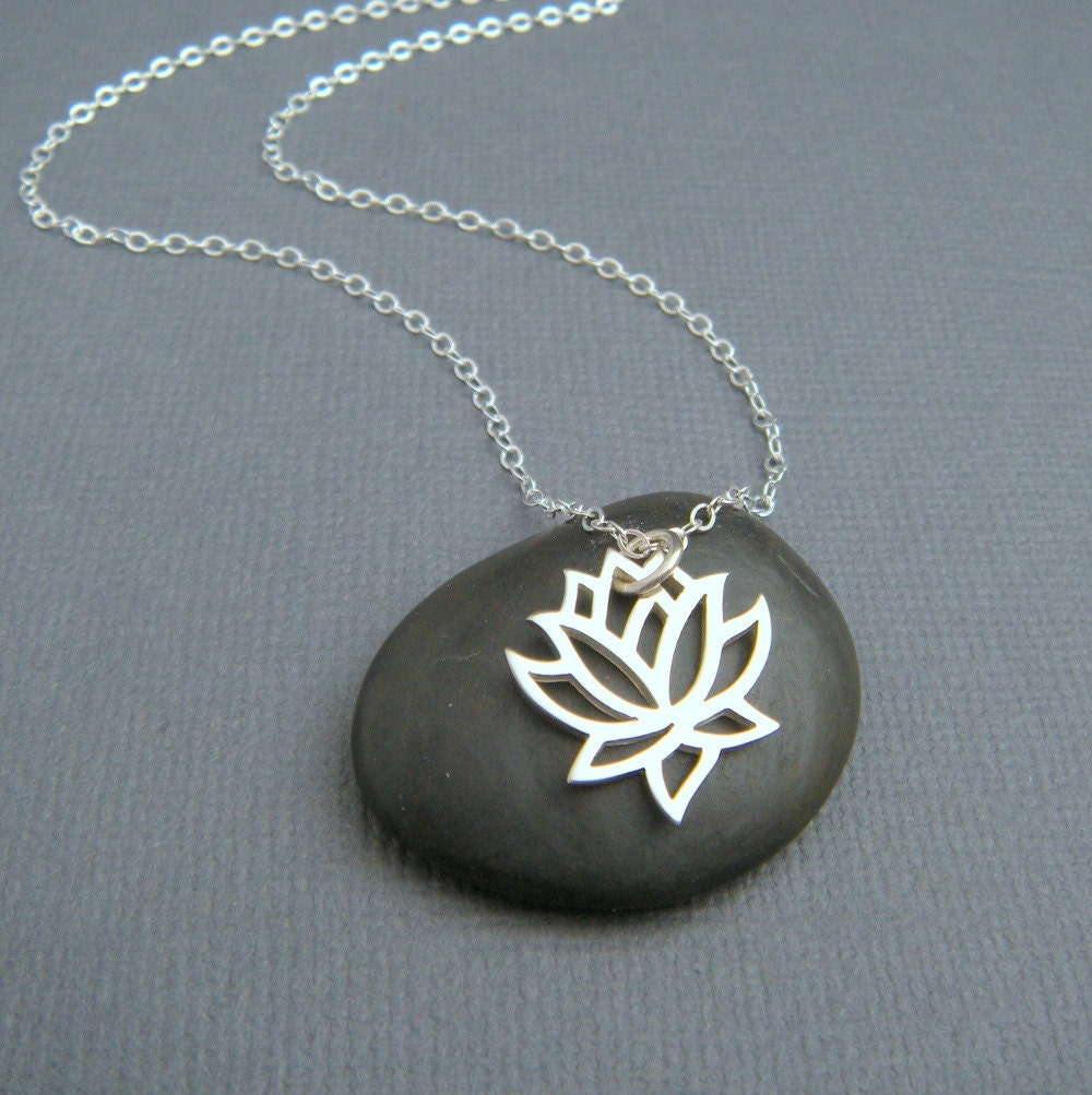 Lotus Flower Necklace Sterling Silver Necklace Eastern