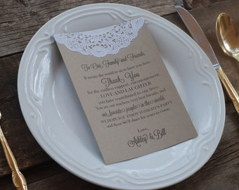 Custom Vintage Lace Doily Wedding Thank You, Program, or Menu - Table Seating Place Card - Rustic Romance Style - Table Number - Classy