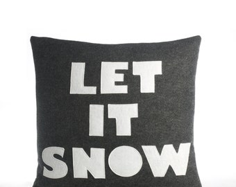 "Decorative Pillow, Throw Pillow, ""Let It Snow"" pillow, 16 inch"