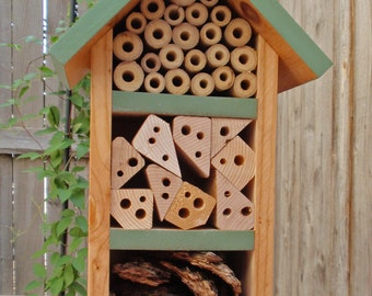 Handmade Bug House - All Natural Bug Box - Insect Habitat - Persnickety Bug House - Sage Green Garden Decor