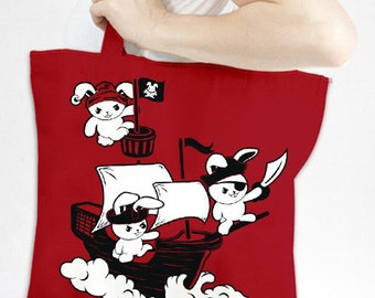 Pirate Rabbit Tote - Eco-Friendly Recycled Cotton Canvas