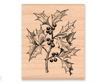 HOLLY AND BERRIES Rubber Stamp~Christmas Holly Leaves~Evergreen boughs~Holiday Stamp~Winter Berries~Branch~Card Making (27-02)