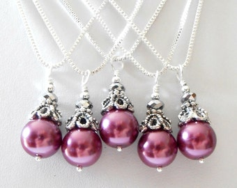Sangria Bridesmaid Jewelry, Purple Pearl Pendant Necklace, Wedding Jewelry, Bridesmaid Necklaces, Wedding Party Gift, Sterling Silver Chain