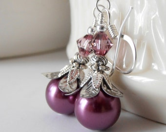 Sangria Bridesmaid Earrings, Plum Pearl Dangles, Purple Bridesmaid Jewelry Gifts, Beaded Wedding Jewelry