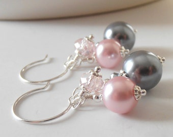 Pink and Gray Bridesmaid Earrings, Bead Cluster Earrings, Crystal and Pearl Cluster Dangles, Grey and Pink Wedding Jewelry, Bridesmaid Gift