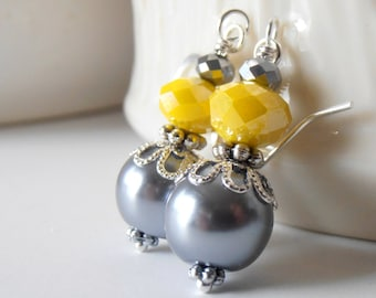 Bright Yellow Bridesmaid Earrings, Yellow and Gray Pearl Dangle Earrings, Beaded Earrings, Grey and Yellow Wedding Jewelry, Handmade