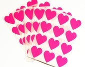 Set of 60 - 3/4 inch - HOT PINK - Small Heart Stickers - Gift Wrapping, Party Invitations, Embellishment, Envelope Seals, Wedding