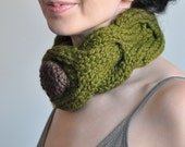 Olive Grove - hand knit neckwarmer chunky collar braided cable choker knitted scarf neckwear neckpiece with huge knit button Gift under 50