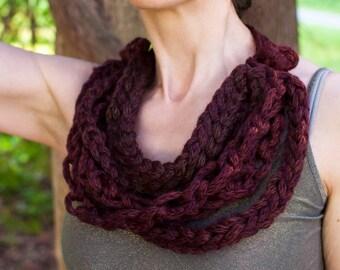 Crochet Chain Braided Fiber Art Necklace Multistrand OOAK Necklace Fiber Art Jewelry Wearable Art Brown Shades
