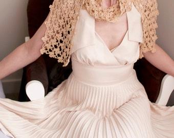 Crochet Lace Shawl Lacy Scarf Bridal Bridesmaid Shawl Wedding Summer Neckwear Cotton Floral Eco Fashion Camel Golden Beige - Flowery Meadow