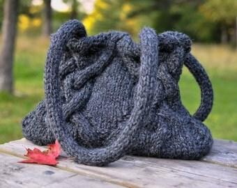Knitted Cable Bag Hand Knit Shoulder Bag Unique Designer Irish Celtic Fashion Hobo in charcoal dark grey - Celtic Journey