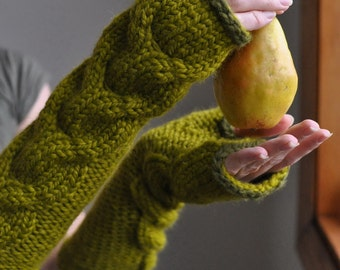 Hand knit chunky extra long cable fingerless gloves mitts armwarmers gauntlets  - Freezebaby Mittens in lemongrass or CHOOSE your COLORS