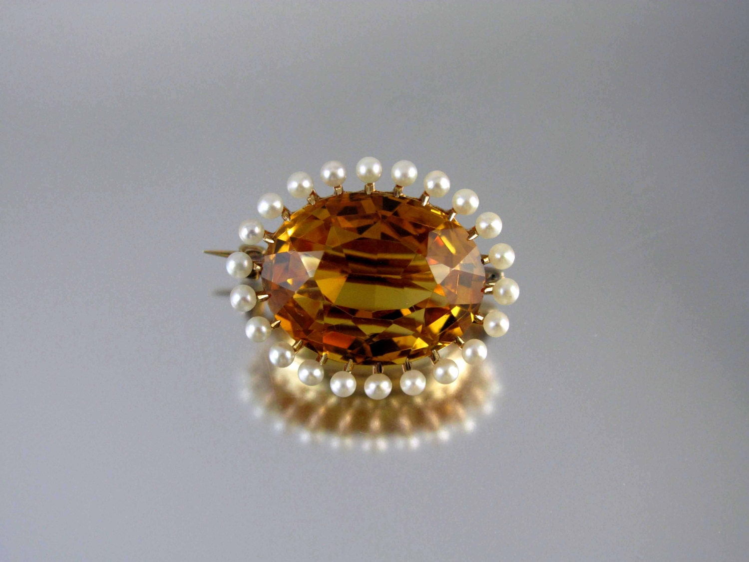 Antique Edwardian 14k gold 15 carat citrine seed pearl brooch pin