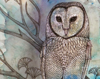 "Mystical Barn Owl Bird Art Print by Lynnette Shelley (8x10"")"