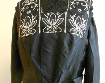 "1910, 40"" bust, black silk taffeta beaded top (called a waist)."