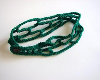 Green Crochet Headband Tan Adjustable Head Band Trellis Hairband, MADE TO ORDER