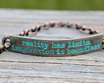 reality has limits imagination is boundless, Word jewelry, Inspirational Quote Jewelry, Inspiring Jewelry, Quote Jewelry, affirmation