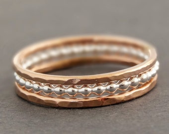 Rose Gold Rings and Sterling Silver Ring Stacking Rings mixed metal stack rings
