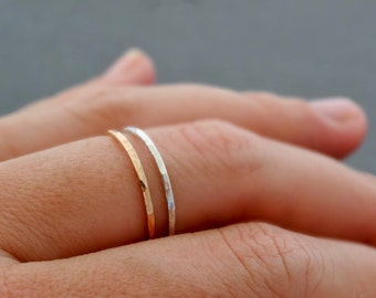 SUPER THIN Ring Rose gold and Silver Ring gift for mum skinny hammered stackable rings
