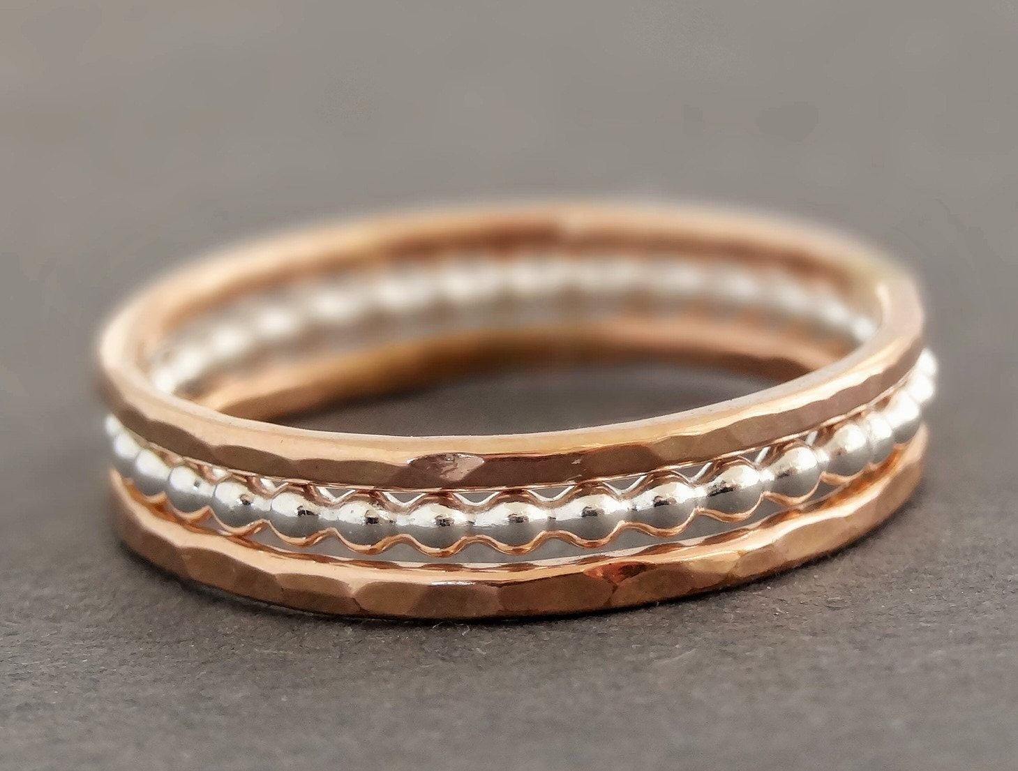 gold rings and sterling silver ring stacking rings mixed