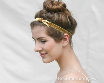 Gold Glitter Elastic Stretch Headband with Gold Leaves and Beads, Women Boho Hair Accessory, Bohemian Headbands For women and Teens