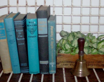 Instant Collection of 6 Turquoise and Black Vintage and Antique Books