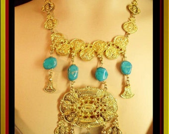 Extraordinary Turquoise Egyptian NECKLACE huge chandelier drop vintage gold statement