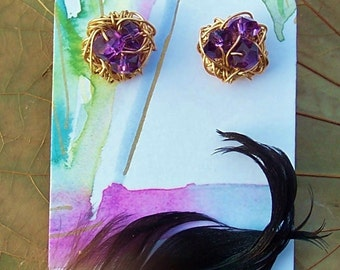 Magpie Nest Post Earrings - Faceted Amethyst Gold Hand-wired Birds Nests
