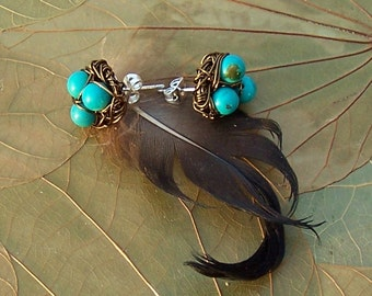 Magpie Nest Post Earrings - Vintage Copper wire and Turquoise Birds Nests