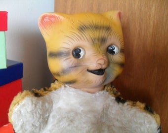 Vintage Kitty Cat Stuffed Toy So Cute with a Full Rubber Head 1950s 1960s