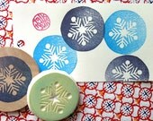 snowflake stamp | snow rubber stamp | christmas scrapbooking | diy gift tags | winter holiday crafts | hand carved by talktothesun