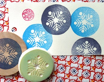 snowflake stamp. snow flake hand carved rubber stamp. christmas scrapbooking stamp. holiday crafts. handmade by talktothesun