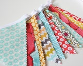 Bunting Banner, Baby Bunting Banner, Fabric Banner, Nursery Decor, Girl Bunting Red Yellow Teal - READY TO SHIP