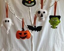 Halloween Decorations - Felt - Bat, Skull, Cat, Pumpkin, Frankenstein, Ghost