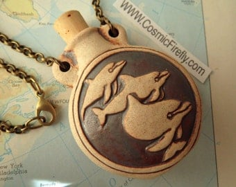 Free Shipping Holiday Sale Dolphin Necklace Bottle Natural Ceramic Stoneware Jewelry Brass Rolo Chain Round Pendant Small Round Bottle