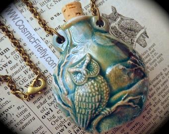 Antiqued Blue Owl Necklace Gift For Her Rustic Blue Ceramic Bottle Necklace Antiqued Brass Rolo Chain Pendant Cork Bottle Urn