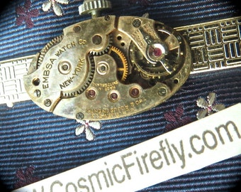 Men's Steampunk Tie Clip Vintage Embsa Watch Movement Men's Tie Clip Men's Steampunk Tie Bar Silver Tie Clip Men's Gifts For Him