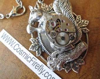 Steampunk Necklace Antiqued Silver Squirrel Necklace Tiny Vintage Watch Movement Gothic Victorian Primitive Art Jewelry