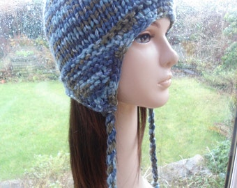 BLUE SOFT SHIMMER unique wool blend chullo ear flap winter hat by irish granny