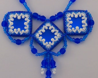 Oceanaire Ocean Inspired Beadwoven Necklace Blue & White