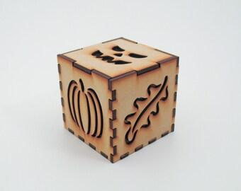 Fall Halloween LED Tealight Lantern Kit, 3-inch cube